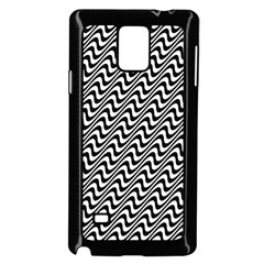 Black And White Waves Illusion Pattern Samsung Galaxy Note 4 Case (black)