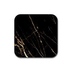 Black Marble Rubber Square Coaster (4 Pack)  by 8fugoso