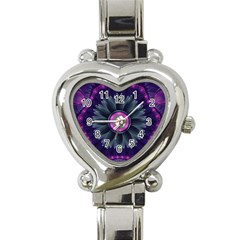 Beautiful Hot Pink And Gray Fractal Anemone Kisses Heart Italian Charm Watch by beautifulfractals