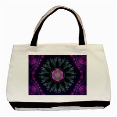 Beautiful Hot Pink And Gray Fractal Anemone Kisses Basic Tote Bag by beautifulfractals