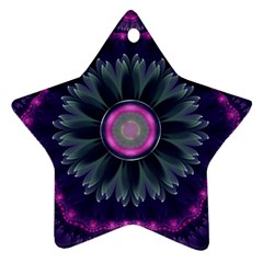 Beautiful Hot Pink And Gray Fractal Anemone Kisses Star Ornament (two Sides) by beautifulfractals
