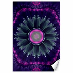 Beautiful Hot Pink And Gray Fractal Anemone Kisses Canvas 24  X 36  by beautifulfractals