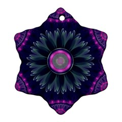 Beautiful Hot Pink And Gray Fractal Anemone Kisses Snowflake Ornament (two Sides) by beautifulfractals