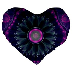 Beautiful Hot Pink And Gray Fractal Anemone Kisses Large 19  Premium Heart Shape Cushions by beautifulfractals