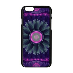 Beautiful Hot Pink And Gray Fractal Anemone Kisses Apple Iphone 6/6s Black Enamel Case by beautifulfractals