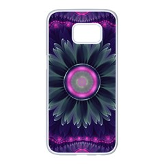 Beautiful Hot Pink And Gray Fractal Anemone Kisses Samsung Galaxy S7 Edge White Seamless Case by beautifulfractals