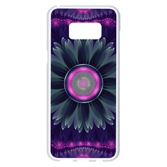 Beautiful Hot Pink And Gray Fractal Anemone Kisses Samsung Galaxy S8 Plus White Seamless Case by beautifulfractals