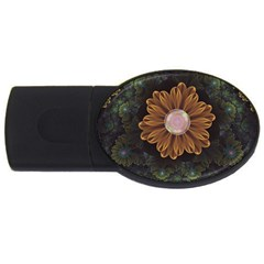 Abloom In Autumn Leaves With Faded Fractal Flowers Usb Flash Drive Oval (2 Gb) by jayaprime