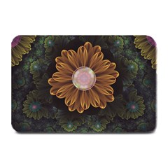 Abloom In Autumn Leaves With Faded Fractal Flowers Plate Mats by beautifulfractals