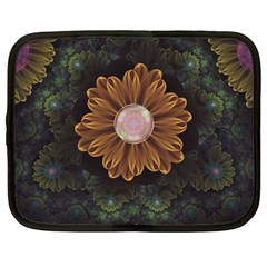 Abloom In Autumn Leaves With Faded Fractal Flowers Netbook Case (large) by beautifulfractals