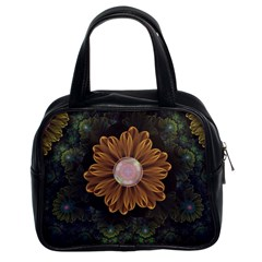 Abloom In Autumn Leaves With Faded Fractal Flowers Classic Handbags (2 Sides) by beautifulfractals