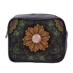 Abloom In Autumn Leaves With Faded Fractal Flowers Mini Toiletries Bag 2 Side by beautifulfractals