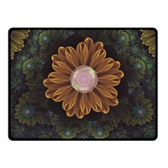 Abloom In Autumn Leaves With Faded Fractal Flowers Fleece Blanket (small) by jayaprime
