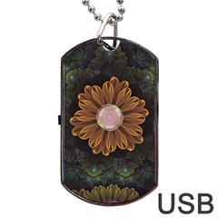 Abloom In Autumn Leaves With Faded Fractal Flowers Dog Tag Usb Flash (two Sides) by beautifulfractals