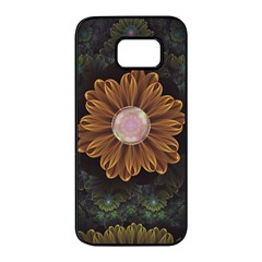 Abloom In Autumn Leaves With Faded Fractal Flowers Samsung Galaxy S7 Edge Black Seamless Case by jayaprime