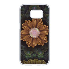 Abloom In Autumn Leaves With Faded Fractal Flowers Samsung Galaxy S7 Edge White Seamless Case by beautifulfractals