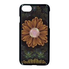 Abloom In Autumn Leaves With Faded Fractal Flowers Apple Iphone 7 Seamless Case (black)