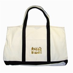 Happy Diwali Gold Golden Stars Star Festival Of Lights Deepavali Typography Two Tone Tote Bag by yoursparklingshop