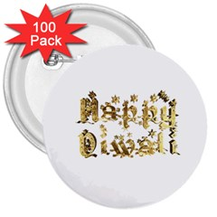 Happy Diwali Gold Golden Stars Star Festival Of Lights Deepavali Typography 3  Buttons (100 Pack)  by yoursparklingshop