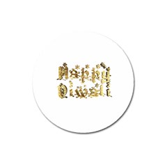 Happy Diwali Gold Golden Stars Star Festival Of Lights Deepavali Typography Magnet 3  (round) by yoursparklingshop