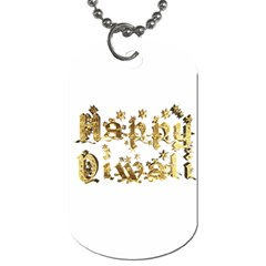 Happy Diwali Gold Golden Stars Star Festival Of Lights Deepavali Typography Dog Tag (one Side) by yoursparklingshop