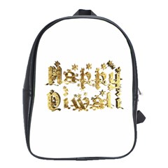 Happy Diwali Gold Golden Stars Star Festival Of Lights Deepavali Typography School Bag (large) by yoursparklingshop