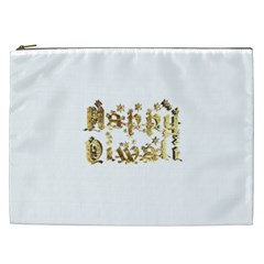 Happy Diwali Gold Golden Stars Star Festival Of Lights Deepavali Typography Cosmetic Bag (xxl)  by yoursparklingshop