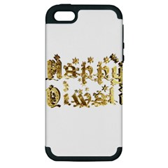 Happy Diwali Gold Golden Stars Star Festival Of Lights Deepavali Typography Apple Iphone 5 Hardshell Case (pc+silicone) by yoursparklingshop