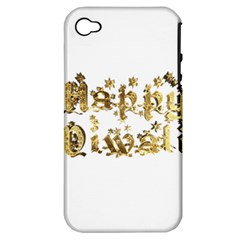 Happy Diwali Gold Golden Stars Star Festival Of Lights Deepavali Typography Apple Iphone 4/4s Hardshell Case (pc+silicone) by yoursparklingshop