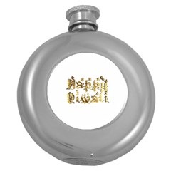 Happy Diwali Gold Golden Stars Star Festival Of Lights Deepavali Typography Round Hip Flask (5 Oz) by yoursparklingshop