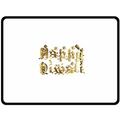 Happy Diwali Gold Golden Stars Star Festival Of Lights Deepavali Typography Double Sided Fleece Blanket (large)  by yoursparklingshop
