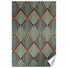 Art Deco Teal Brown Canvas 24  X 36  by 8fugoso