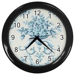 Blue Vintage Floral  Wall Clocks (black) by 8fugoso