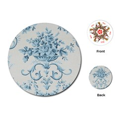 Blue Vintage Floral  Playing Cards (round)  by 8fugoso