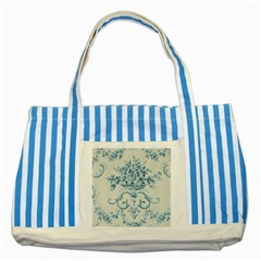 Blue Vintage Floral  Striped Blue Tote Bag by 8fugoso