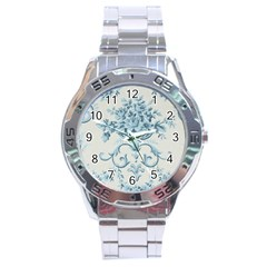 Blue Vintage Floral  Stainless Steel Analogue Watch by 8fugoso