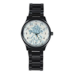 Blue Vintage Floral  Stainless Steel Round Watch by 8fugoso