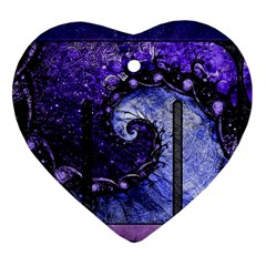 Beautiful Violet Spiral For Nocturne Of Scorpio Ornament (heart) by beautifulfractals