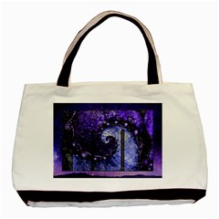 Beautiful Violet Spiral For Nocturne Of Scorpio Basic Tote Bag by beautifulfractals