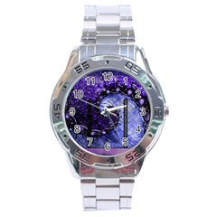 Beautiful Violet Spiral For Nocturne Of Scorpio Stainless Steel Analogue Watch by beautifulfractals