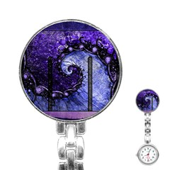 Beautiful Violet Spiral For Nocturne Of Scorpio Stainless Steel Nurses Watch by beautifulfractals