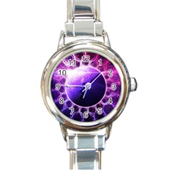 Beautiful Violet Nasa Deep Dream Fractal Mandala Round Italian Charm Watch by beautifulfractals