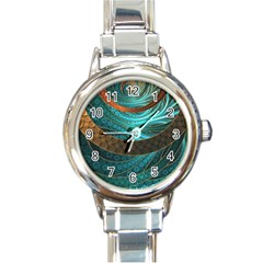 Beautiful Leather & Blue Turquoise Fractal Jewelry Round Italian Charm Watch by beautifulfractals
