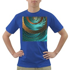 Beautiful Leather & Blue Turquoise Fractal Jewelry Dark T Shirt by beautifulfractals