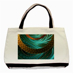 Beautiful Leather & Blue Turquoise Fractal Jewelry Basic Tote Bag (two Sides) by jayaprime