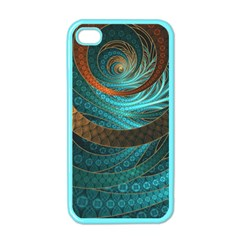 Beautiful Leather & Blue Turquoise Fractal Jewelry Apple Iphone 4 Case (color) by beautifulfractals