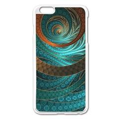 Beautiful Leather & Blue Turquoise Fractal Jewelry Apple Iphone 6 Plus/6s Plus Enamel White Case by jayaprime