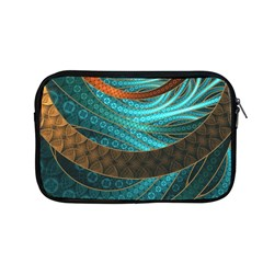 Beautiful Leather & Blue Turquoise Fractal Jewelry Apple Macbook Pro 13  Zipper Case by jayaprime