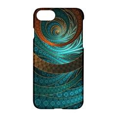 Beautiful Leather & Blue Turquoise Fractal Jewelry Apple Iphone 8 Hardshell Case by jayaprime