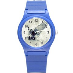Cute Owl In Watercolor Round Plastic Sport Watch (s) by FantasyWorld7